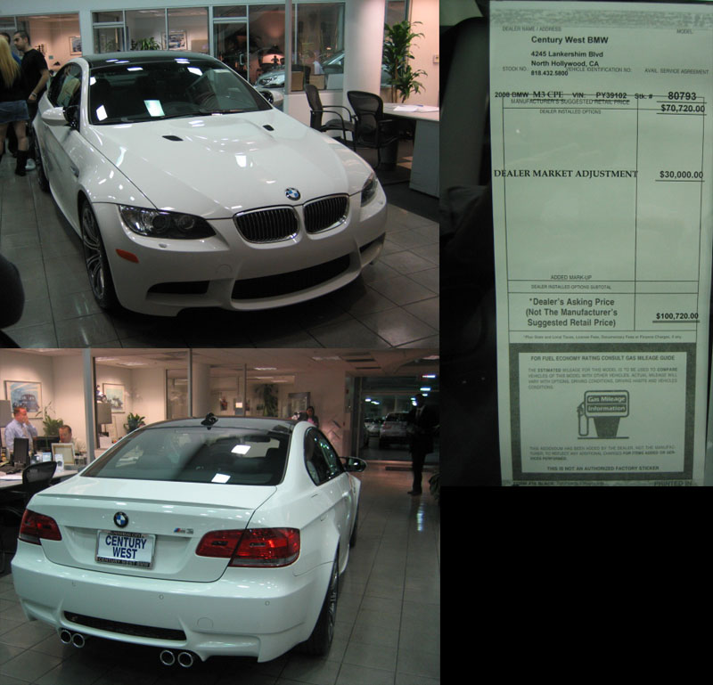 2008 BMW M3 Coupe Picture with 100k Sticker Price