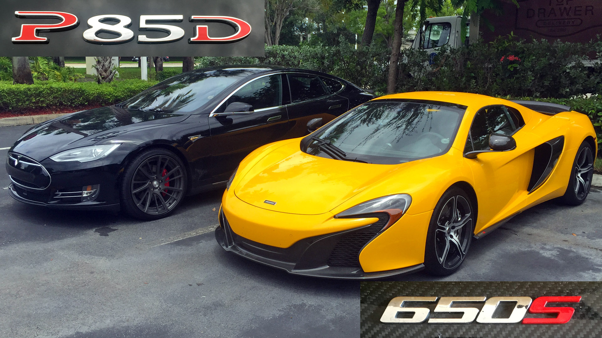 Tesla P85D Insane Mode vs McLaren 650S Spider