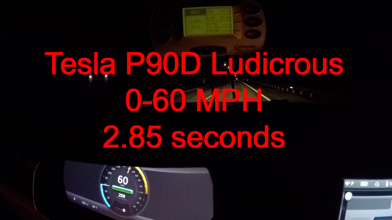 Watch the Tesla Model S P90D Ludicrous go 0-60 MPH in just 2.85 seconds