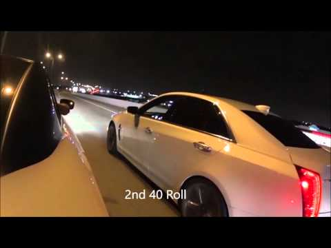 Stock Street Race - 2016 Caddy CTS-V vs 2015 Dodge Hellcat