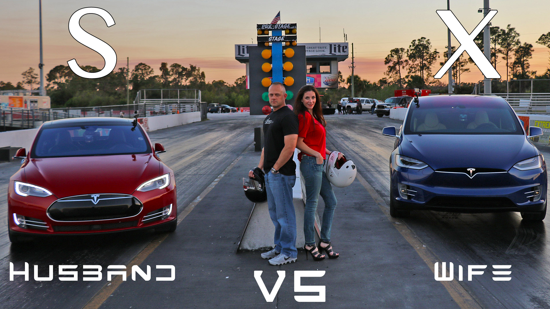 Tesla Model X vs Model S P90D Ludicrous – World Record Set During Husband vs Wife Drag Racing 1/4 Mile Showdown