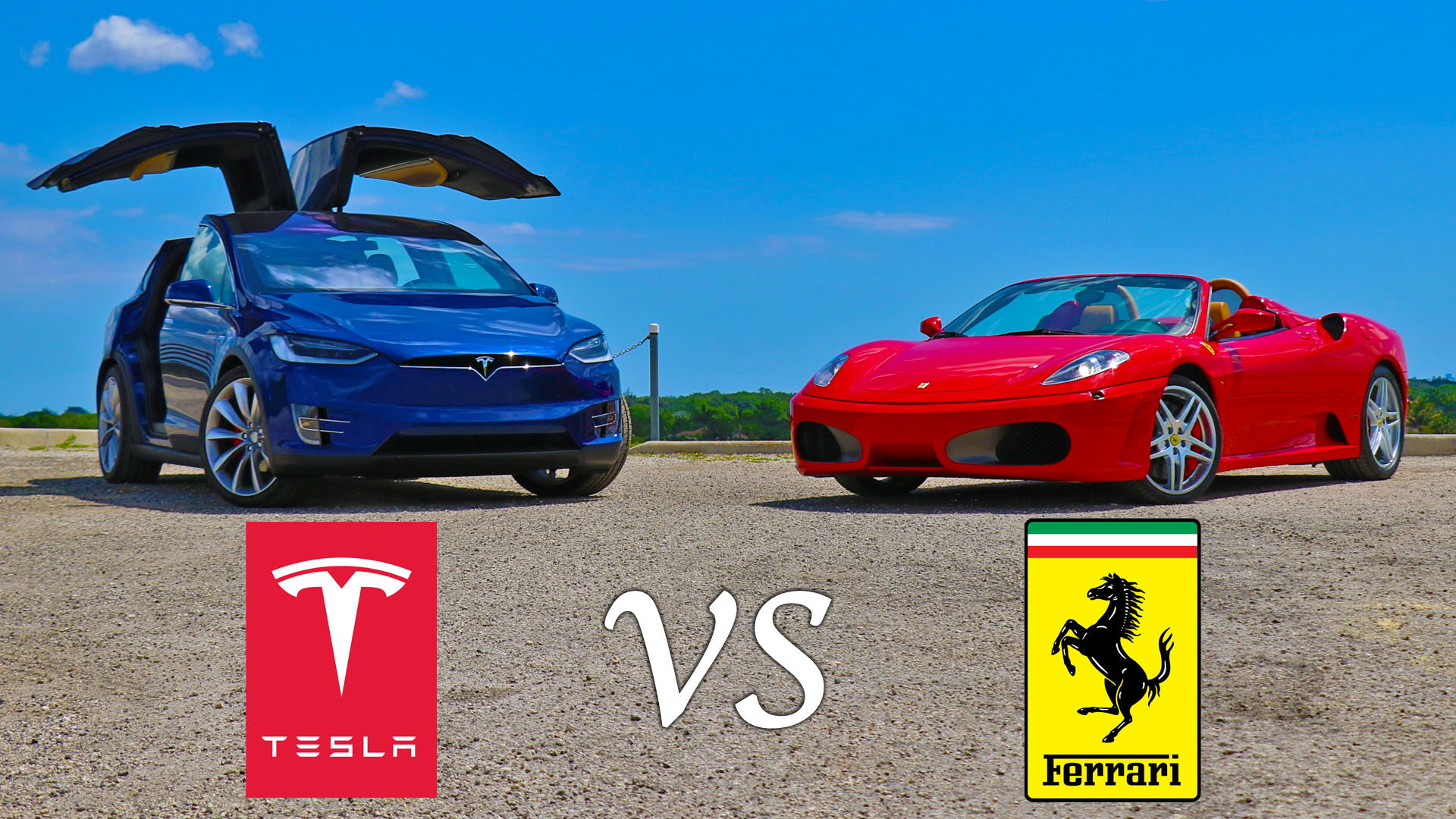 Tesla Model X P90D Ludicrous vs Ferrari F430 Drag and Roll Races