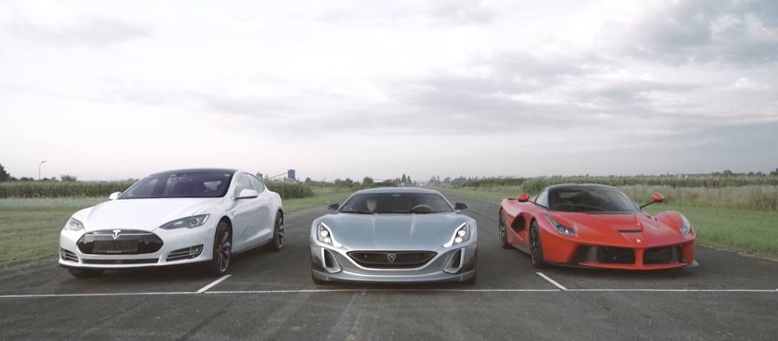 Rimac Concept One Takes down the LaFerrari and Tesla in a Drag Race