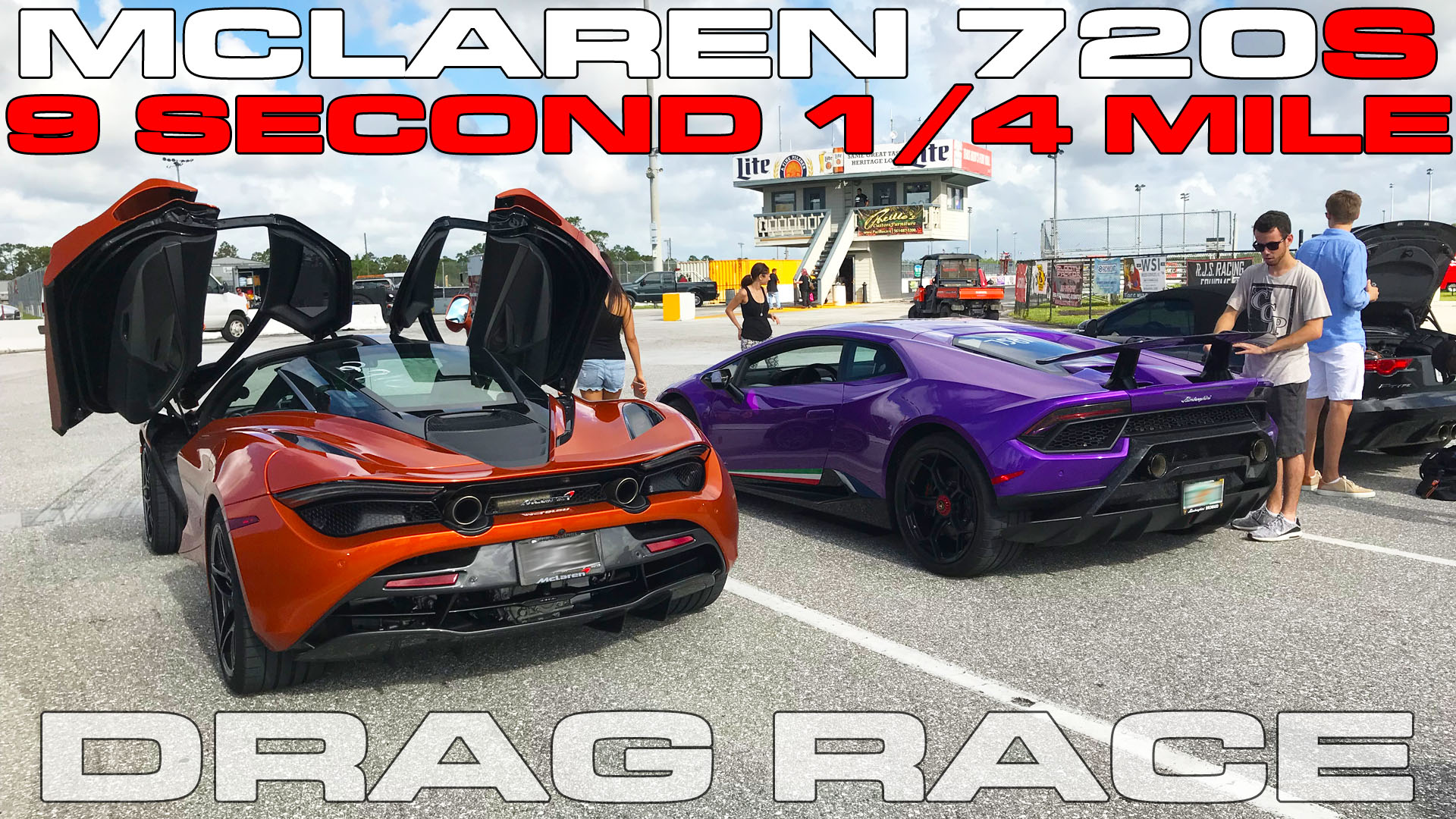 McLaren 720S runs 9's in the 1/4 Mile with the Lamborghini Huracan Peformante