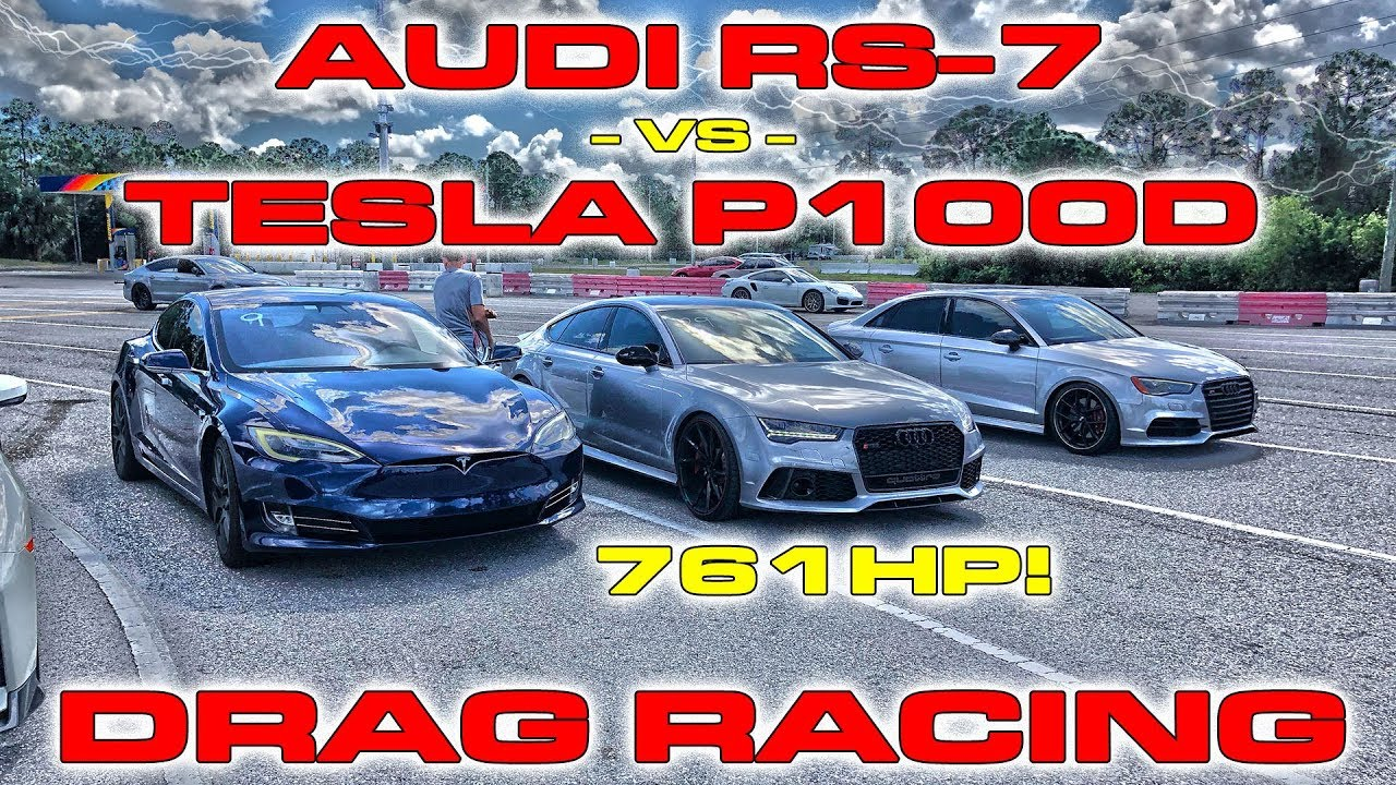 761 HP Audi RS-7 vs Tesla Model S P100D Ludicrous 1/4 Mile Drag Racing