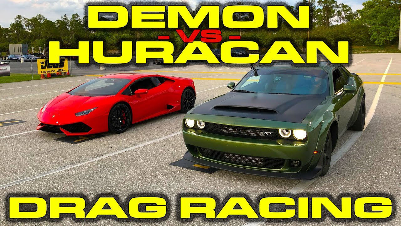 Dodge Demon vs Lamborghini Huracan 1/4 Mile Drag Racing