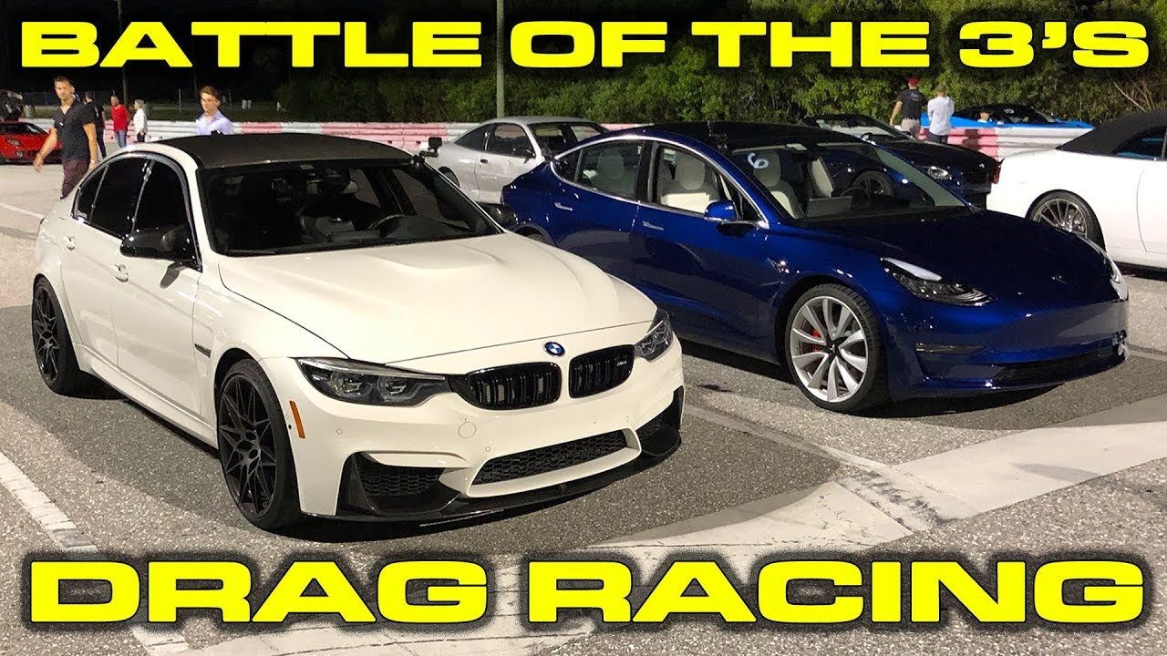 Tesla Model 3 Performance vs BMW M3 Competition Drag Racing 1/4 Mile