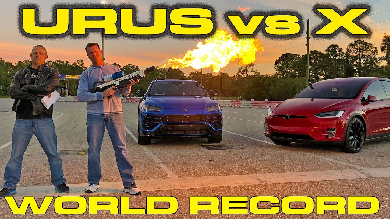Tesla Model X P100D vs Lamborghini Urus Showdown for the quickest SUV World Record