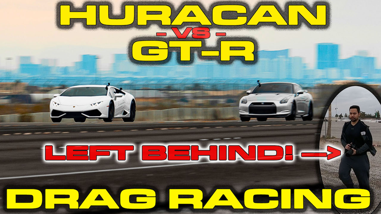 Nissan GT-R kicks out passenger while racing a Lamborghini Huracan