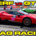 Red Lamborghini Huracan Performante Spyder vs Magna Green Hell Mercedes AMG GTR