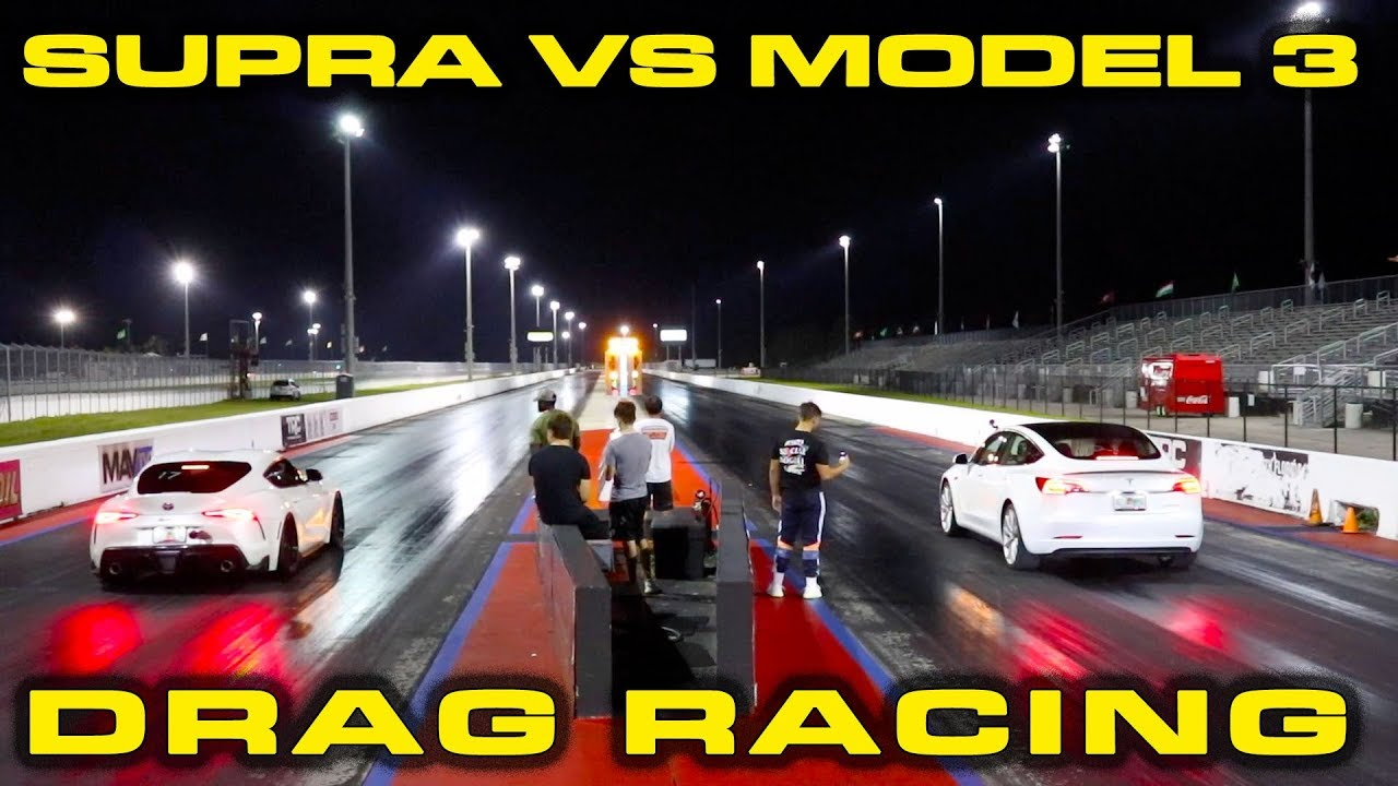 500HP 2020 Toyota Supra vs Tesla Model 3 Performance Drag Race