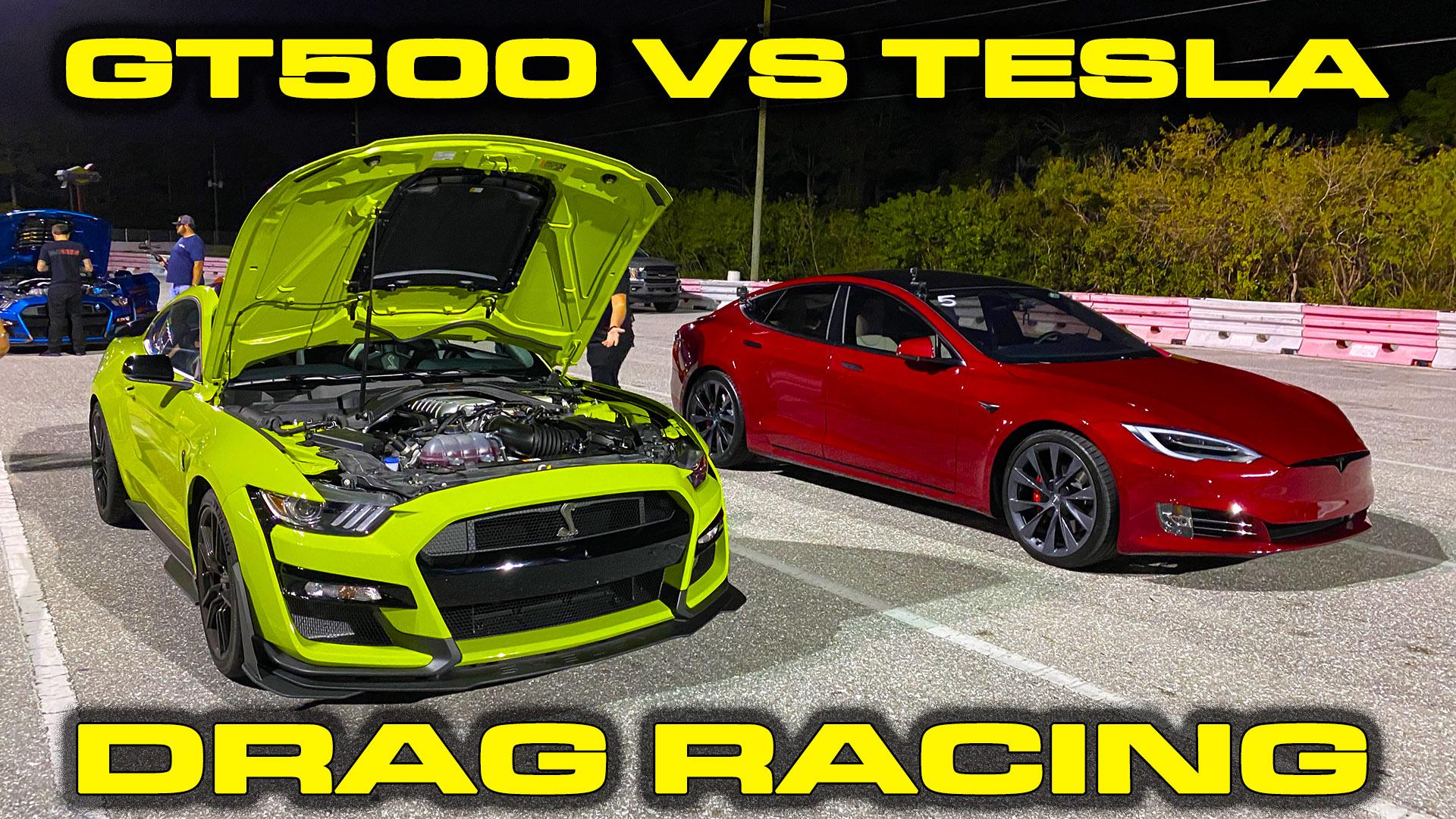 2020 Shelby GT500 vs Tesla Model S Performance Ludicrous Drag Race