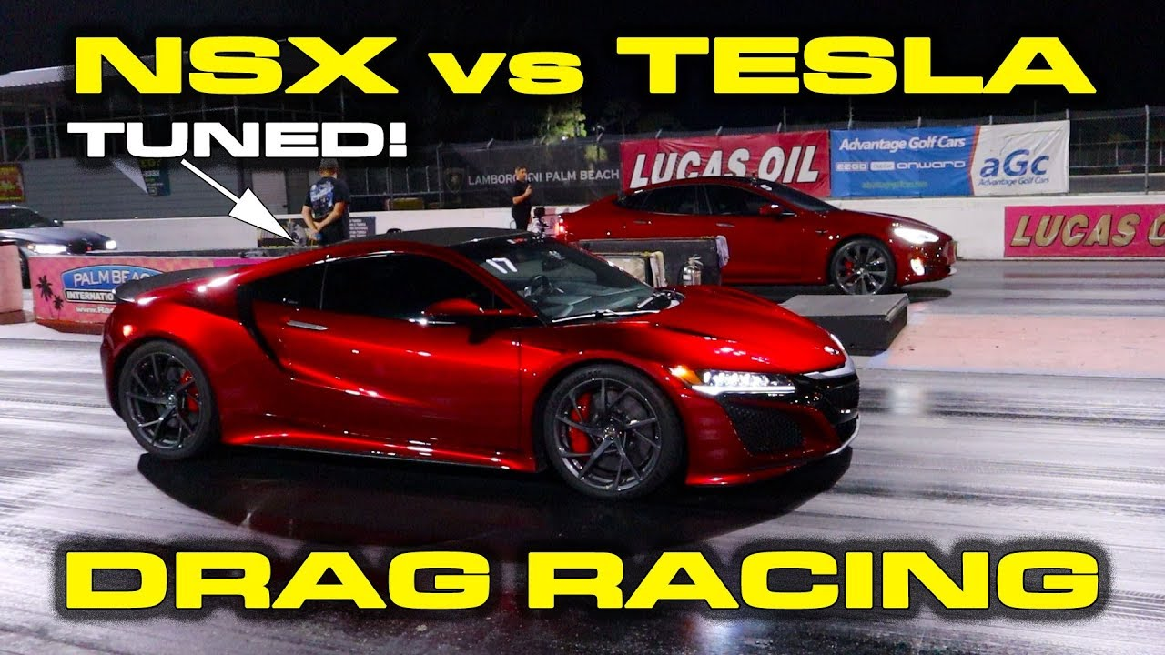 Tuned Acura NSX vs Tesla Model S Performance Raven 1/4 Mile Drag Racing