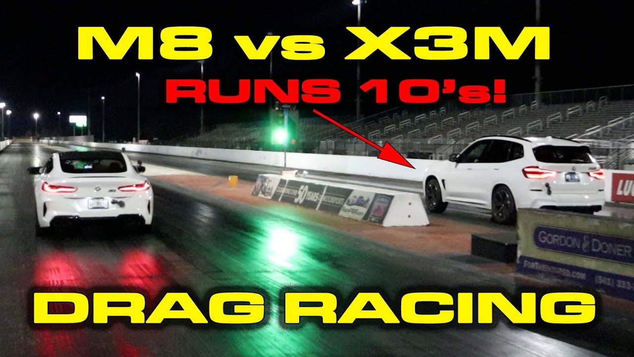 BMW M8 vs X3M 1/4 Mile Drag Racing