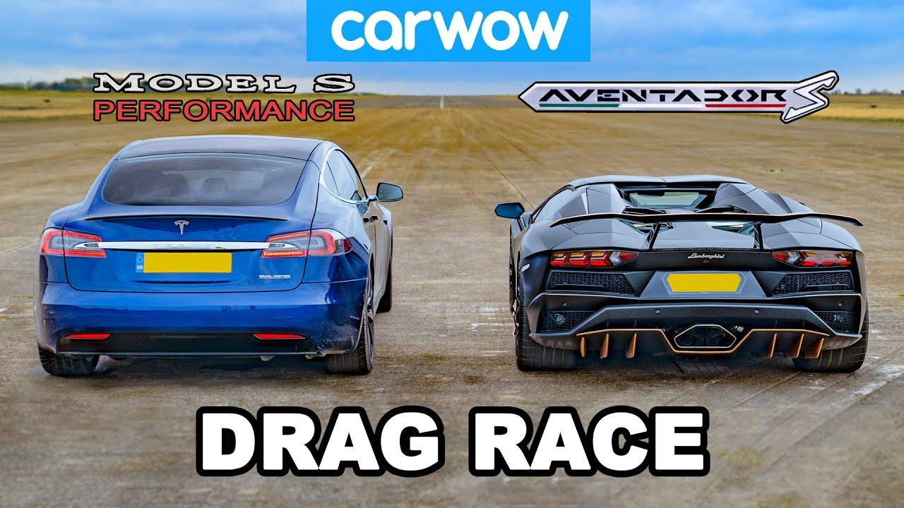 Tesla Model S Performance vs. Lamborghini Aventador – Quarter Mile Drag Race