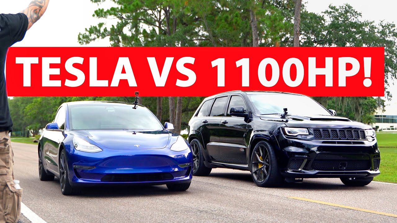 Forza 1100HP Trackhawk vs 2020 Tesla Model 3 Performance