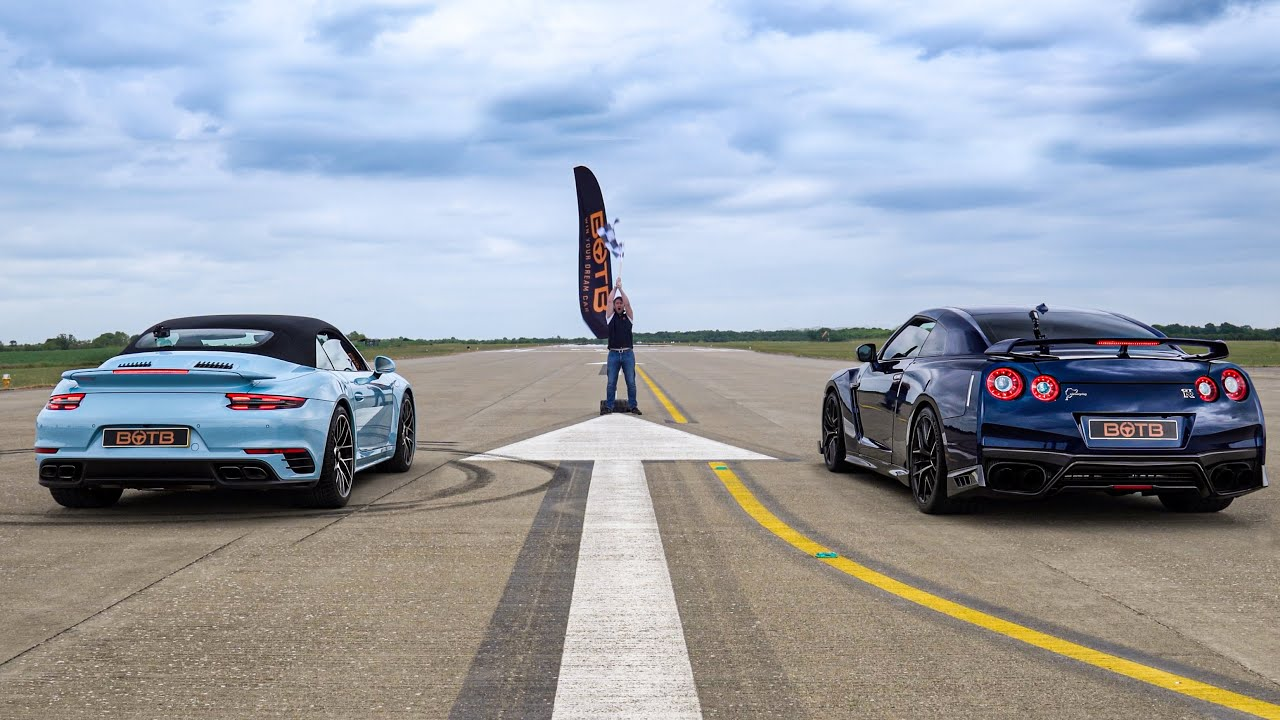 Tuned Nissan GT-R vs. Porsche 911 Turbo S – Drag Race