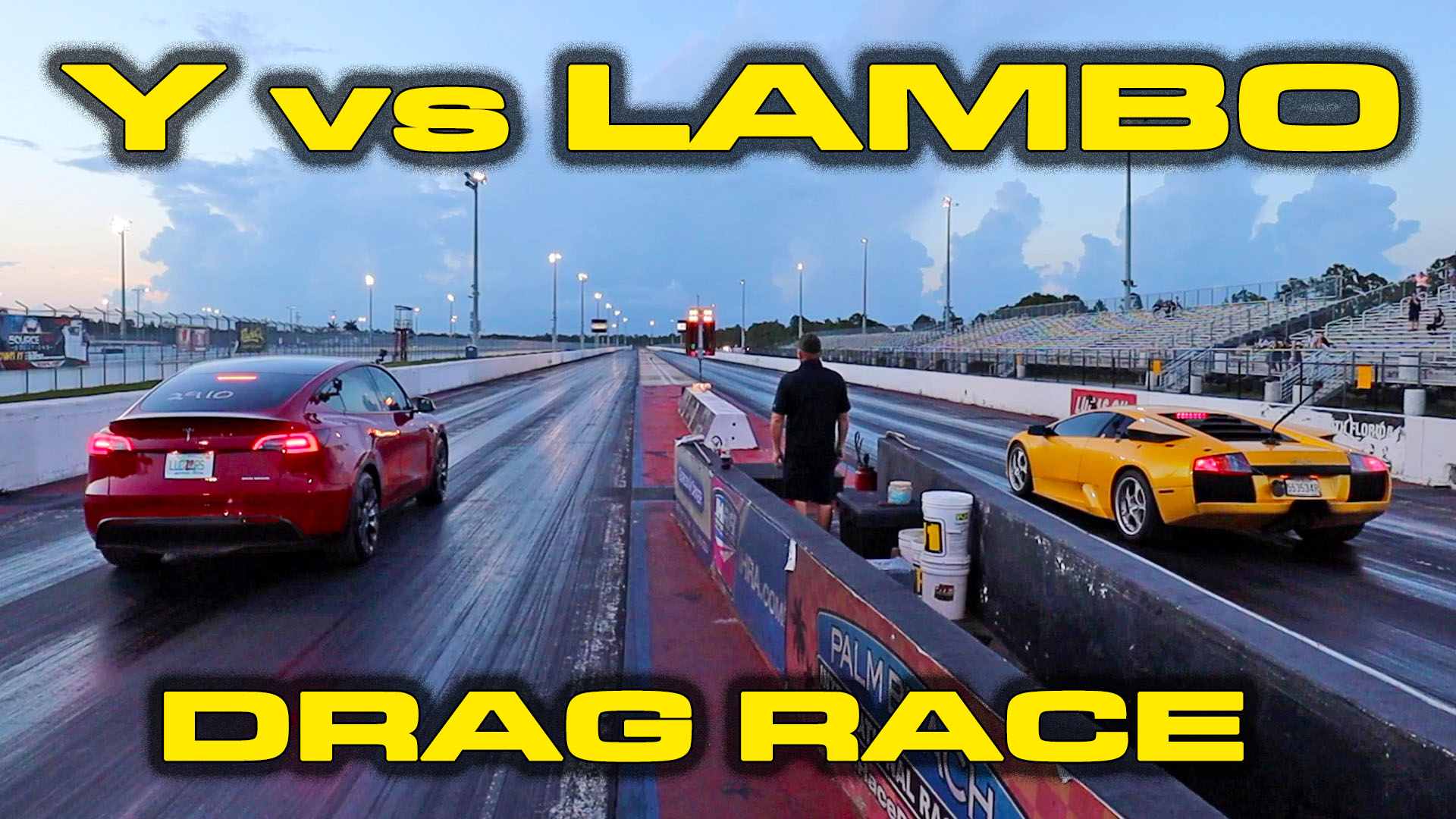 Tesla Model Y Performance vs Lamborghini Murciélago 1/4 Mile Drag Racing