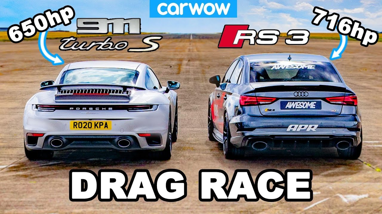 Europe's Fastest Audi RS3 vs. Porsche 911 Turbo S – Drag Race