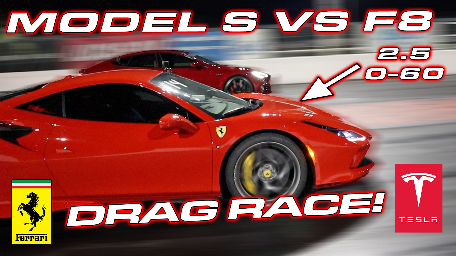 Ferrari F8 vs Tesla Model S Performance Drag Race