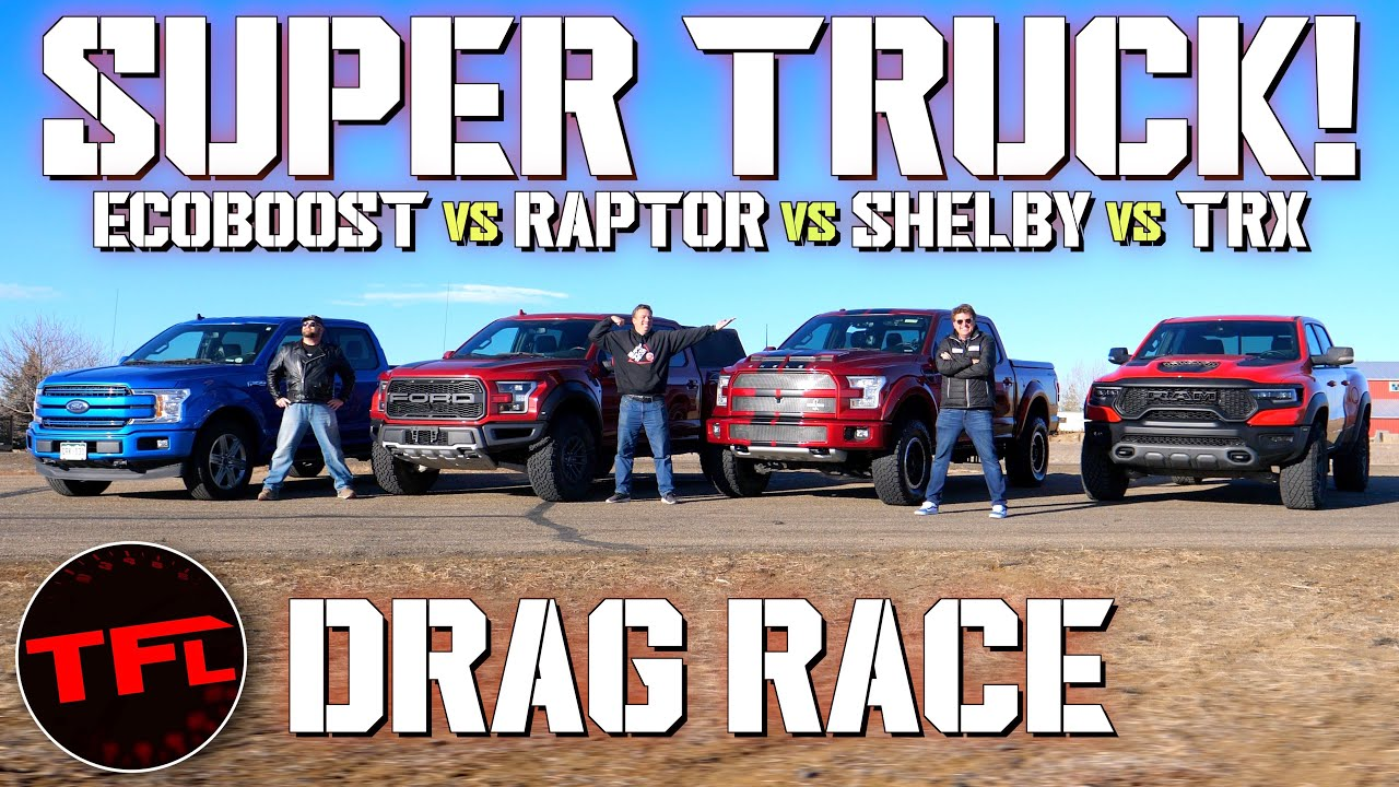 Super Truck Drag Race – Ram TRX vs Shelby F-150 Super Snake