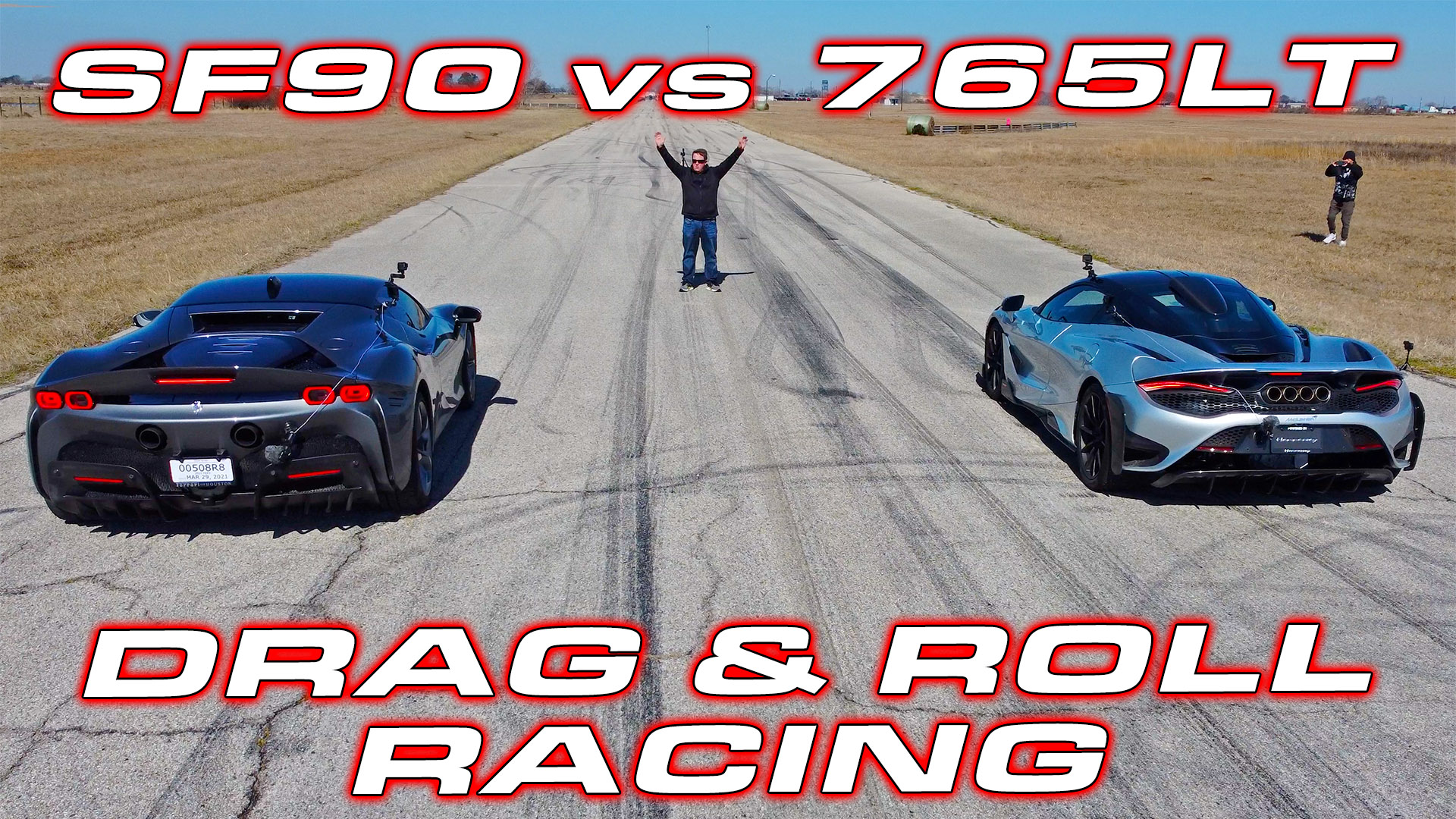 1,000 HP Ferrari SF90 vs McLaren 765LT Drag and Roll Racing