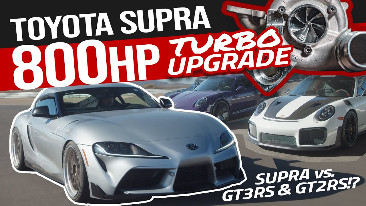 800HP Toyota Supra vs Porsche GT2RS and GT3RS