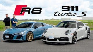 2021 Porsche 911 Turbo S vs Audi R8 Decennium – Drag Race and Track Attack
