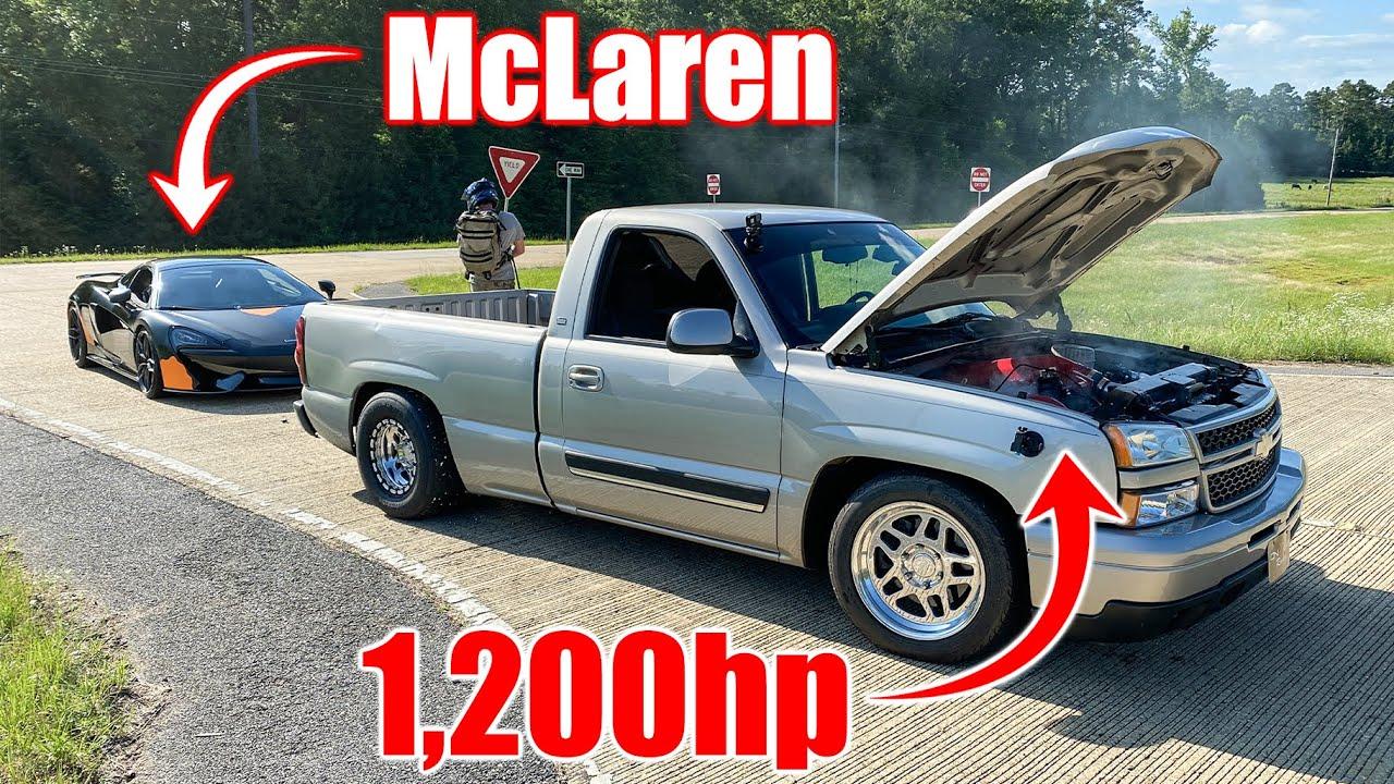 Crazy 9-Second Turbo Silverado vs. McLaren and Roush Mustang – Street Hits
