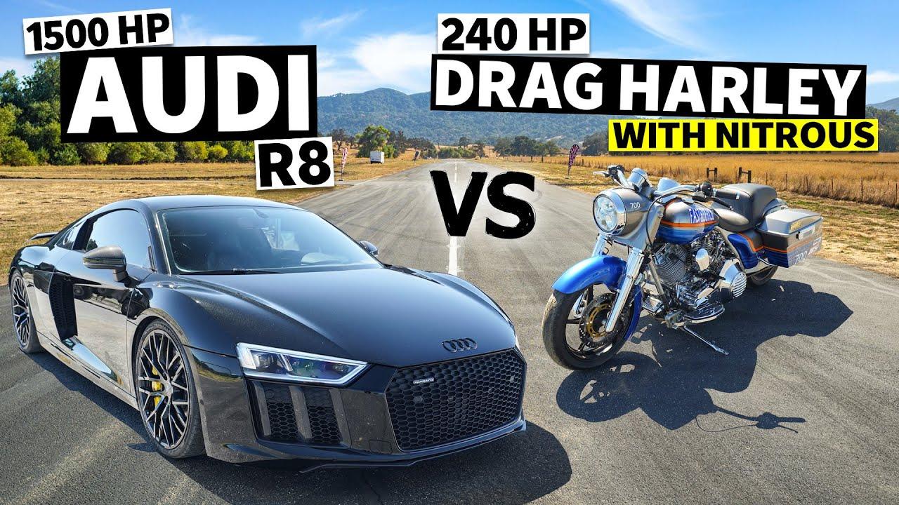 Harley Davidson Road King Nitrous Drag Bike vs. 1500HP Audi R8
