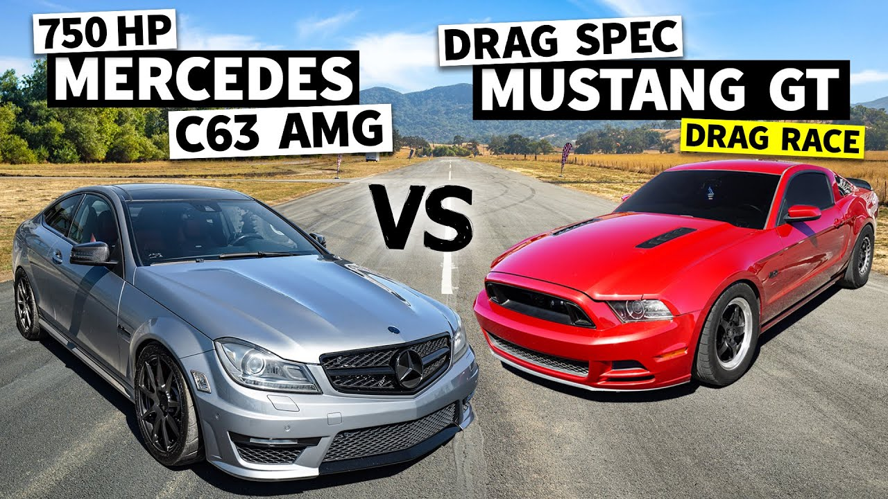 Twin Turbo Mustang vs. Supercharged Mercedes-Benz C63 AMG – Dig and Roll