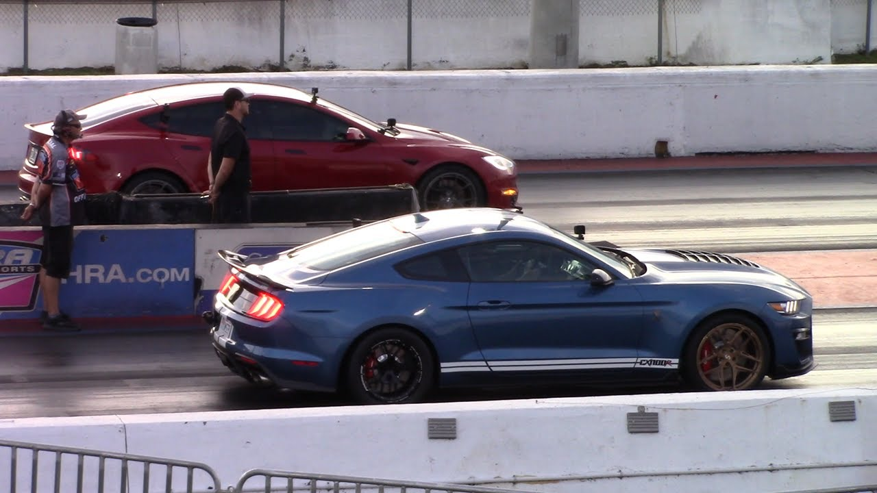 Dragtimes Tesla Plaid vs Palm Beach Dyno Mustang GT500