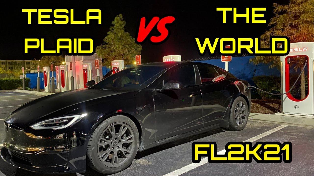 Tesla Plaid vs 1000HP Hellcat, Twin Turbo Mustang and Built Corvette Z06 – Street Hits