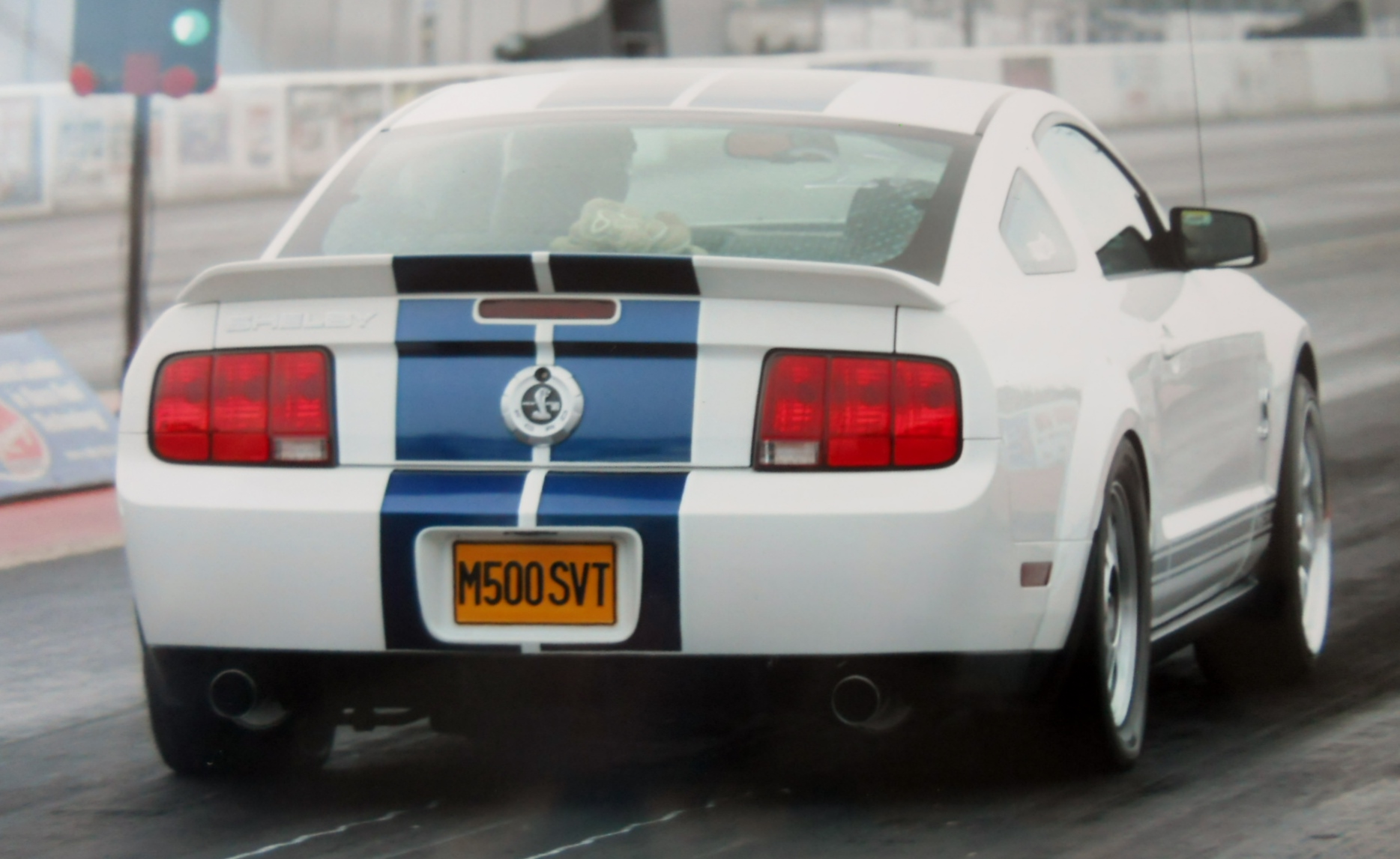 White with Blue Stripes 2008 Ford Mustang Shelby-GT500