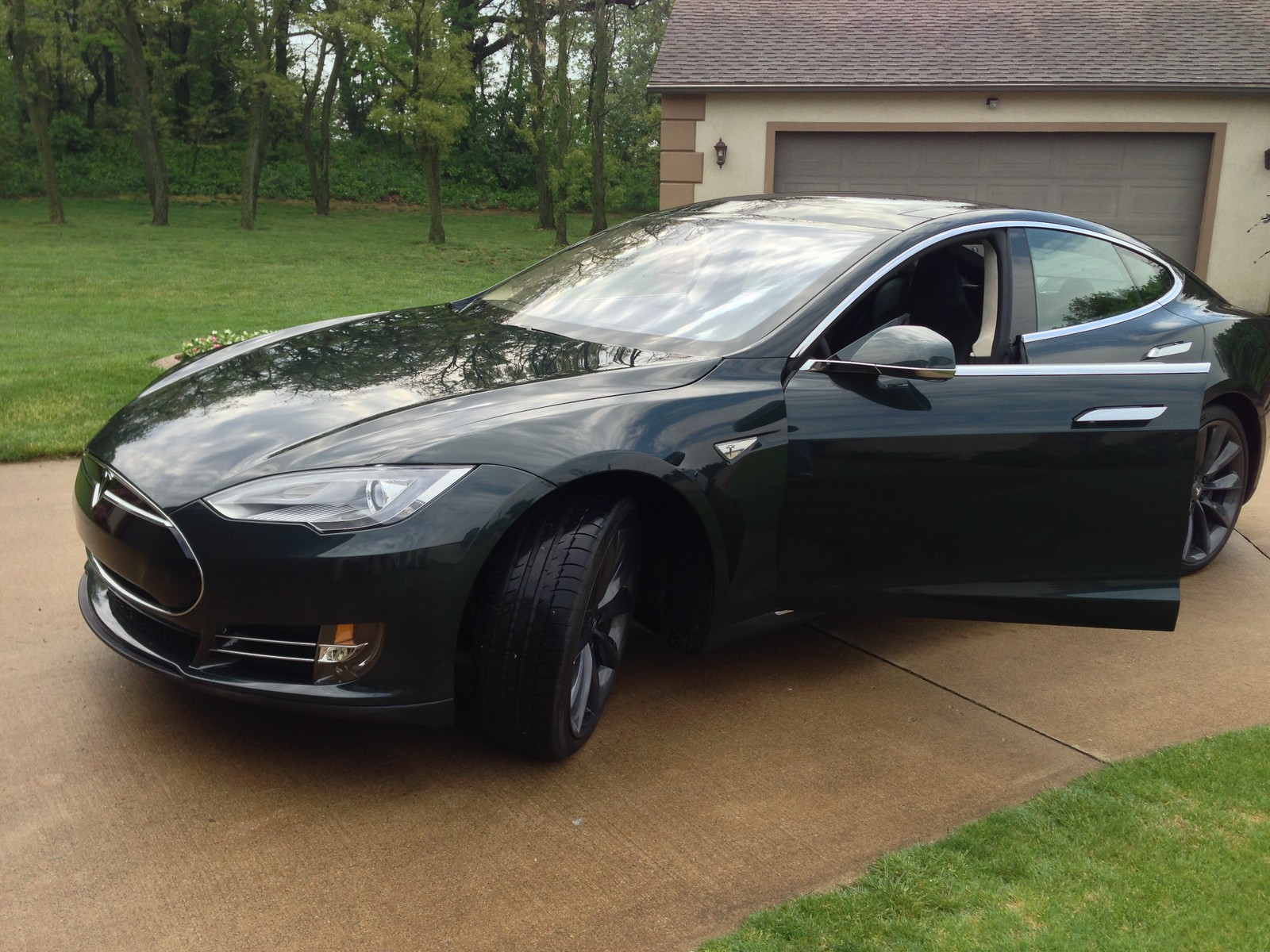 Green 2013 Tesla Model S Performance