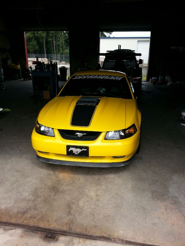 Yellow 2004 Ford Mustang Mach 1 Procharger