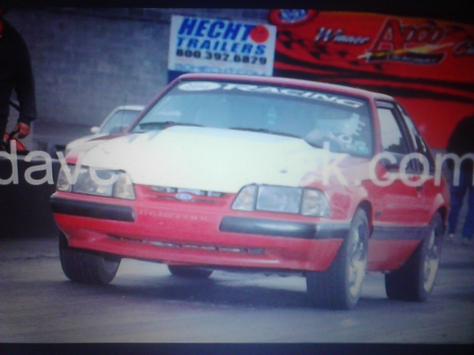red with white fiberglass hood 1990 Ford Mustang lx hatch,very light bolt ons