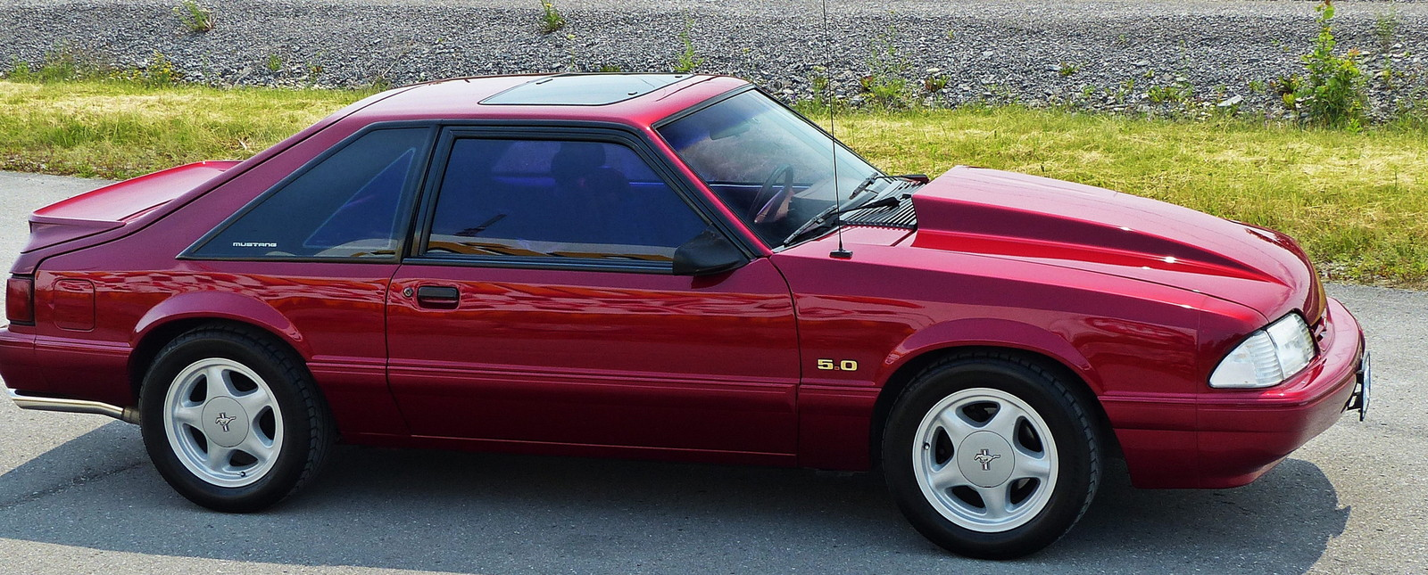 Deep Cherry 1993 Ford Mustang LX Hatchback