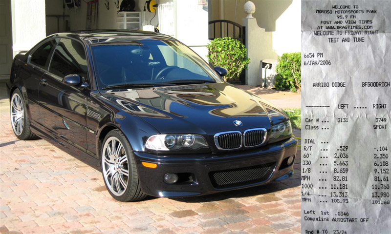 Stock 2004 BMW M3 SMG II 1/4 mile trap speeds 0-60