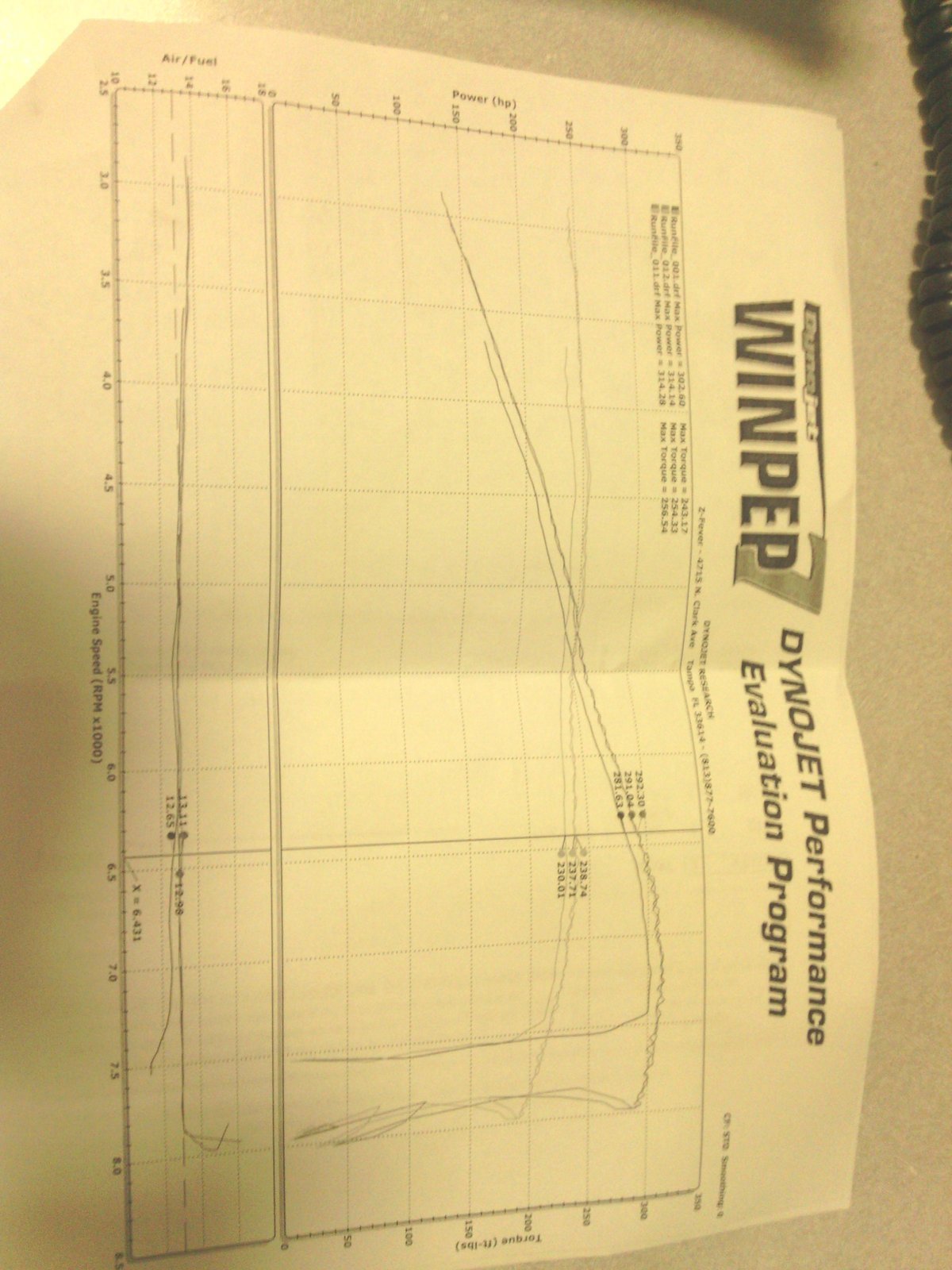 2011 Graphite Shadow Infiniti G37 Sport Dyno Graph