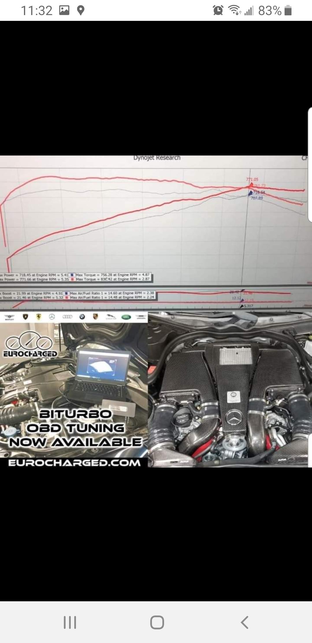 Mercedes-Benz E63 AMG Dyno Graph Results