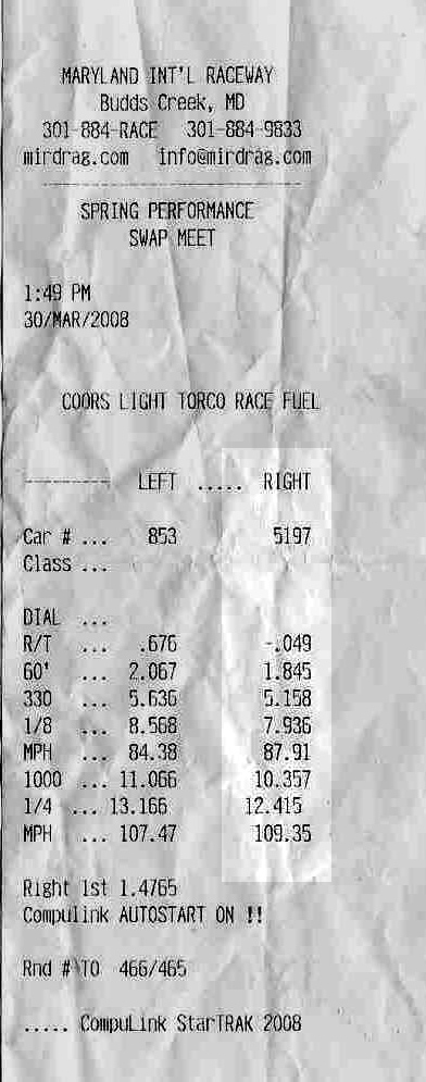 2005 Ford Mustang GT Timeslip Scan