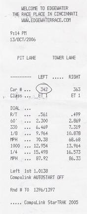 1996  Acura Integra LS Exhaust & Headers Timeslip Scan