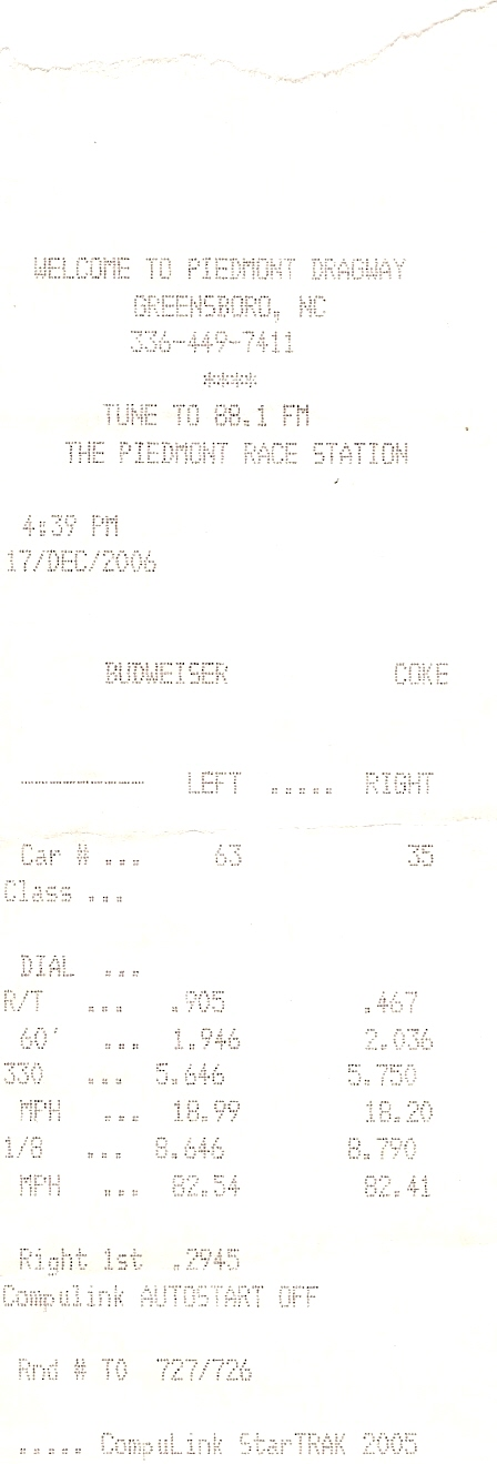 2006 Dodge RAM SRT10 QC Timeslip Scan