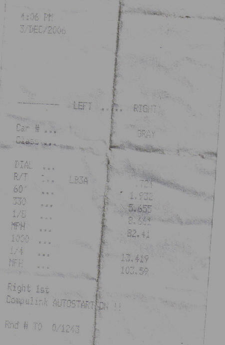 2004 Nissan 350Z 6 speed enthusiast Timeslip Scan