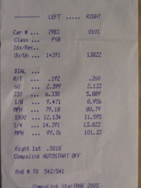 2003 Nissan 350Z performance Timeslip Scan