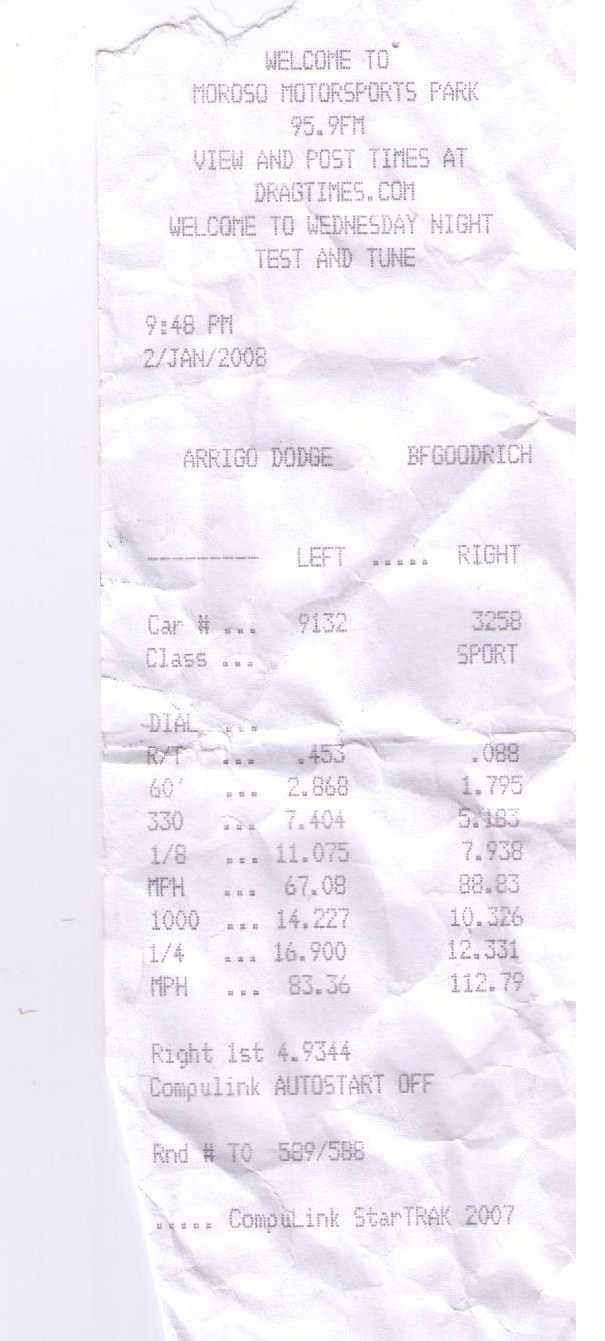 2000  Ford Mustang GT Vortech Supercharger Timeslip Scan