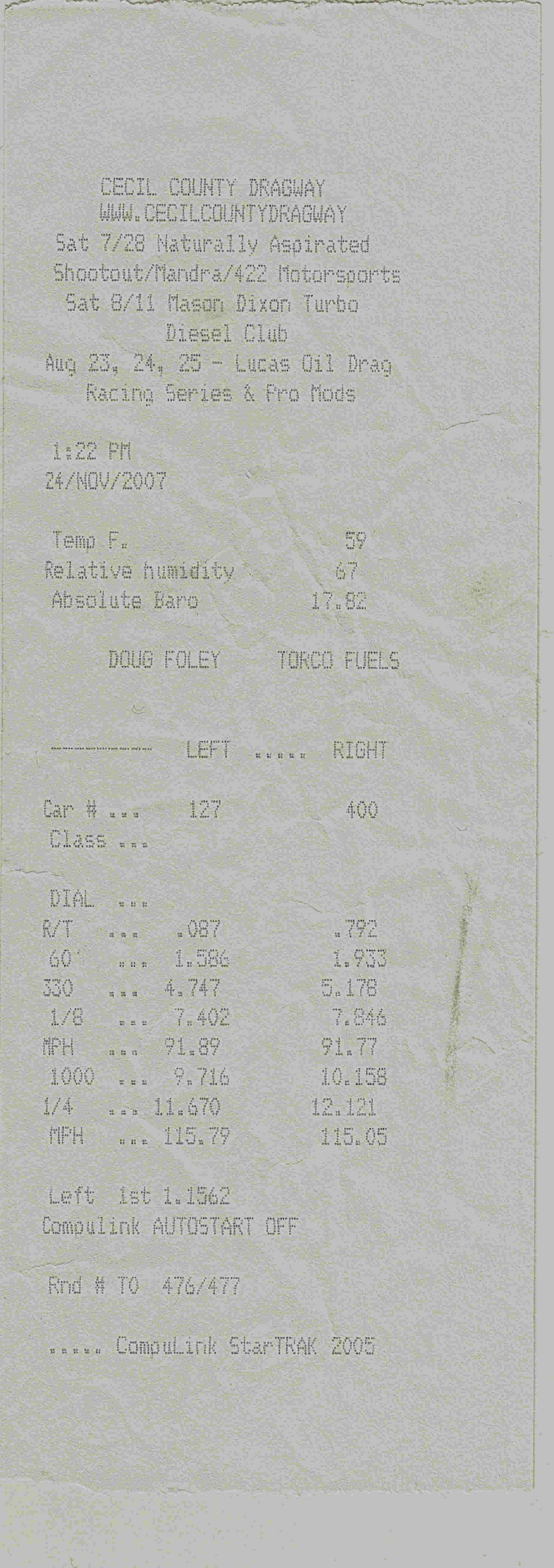 Chrysler PT Cruiser Timeslip Scan