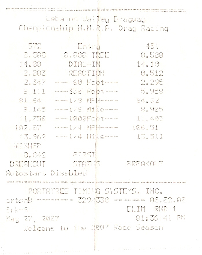 2005  Dodge Neon SRT-4  Timeslip Scan