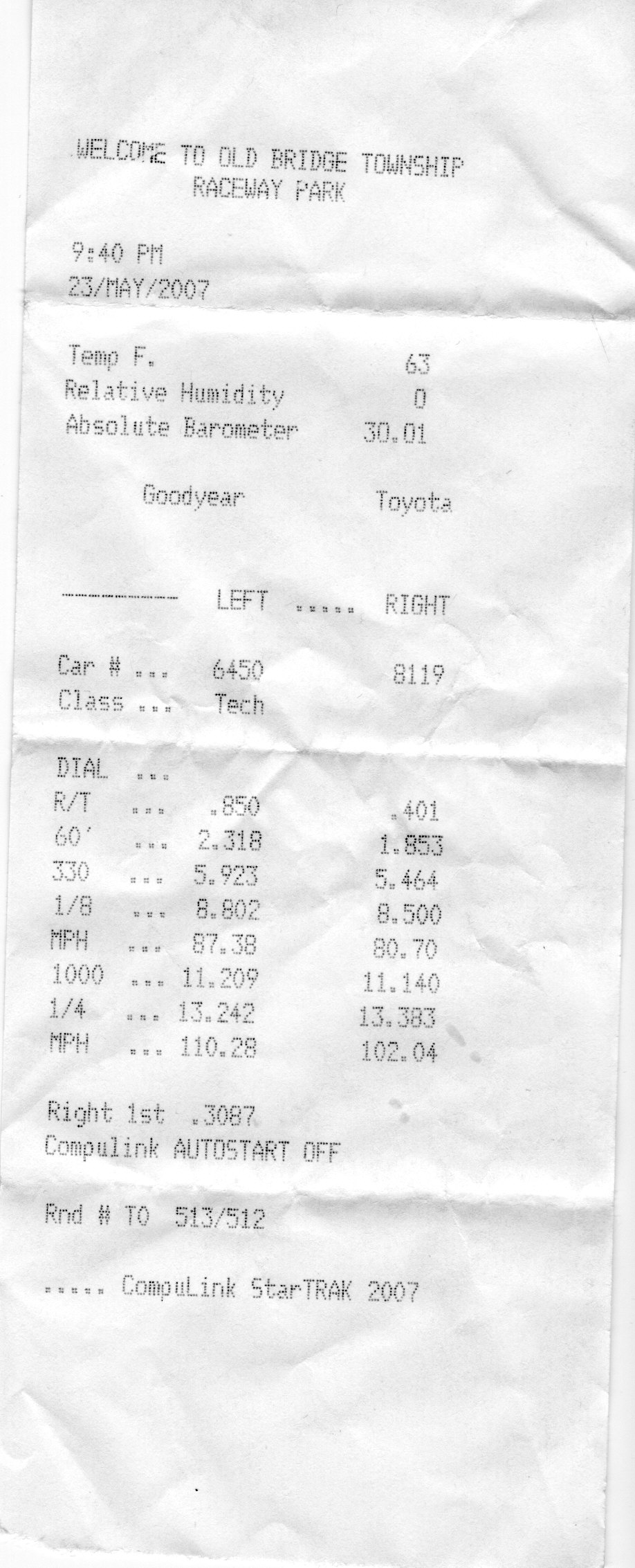 2006 Mazda 6 speed 6 Timeslip Scan